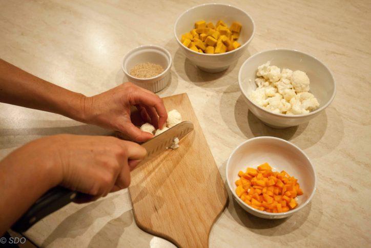 Preparazione Gratin di miglio zucca e cavolfiore