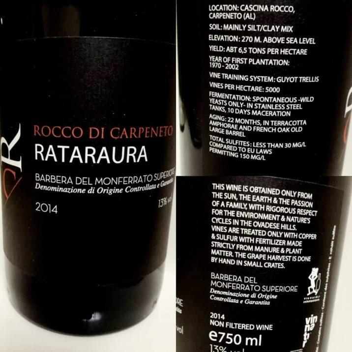 etichetta e retroetichetta Rataraura Rocco di Carpeneto