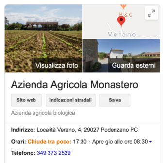 Google My Business Preview: Monastero